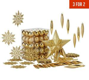 HOME 100 Piece Christmas Decorations Pack - Gold + (optional) 3 for 2 offer + Free Delivery @ Argos