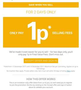 EBay selling fee 1p (selected accounts Only & via invite)