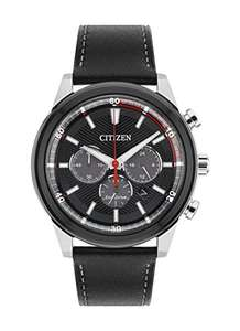 Citizen Watch Men's Solar Powered with Black Dial Analogue Display and Black Leather Strap CA4348-01E - £75.00 @ Amazon