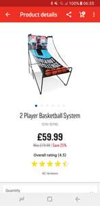2 player basketball system £59.99 Argos