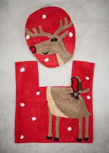 Reindeer Toilet Seat Cover & Pedestal Mat Set reduced to £4.00 @ Matalan
