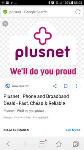 Plusnet unlimited fibre broadband (up to 38Mb speed) £24.99 per month including line rental.  On a 12 month contract.  Setup costs £25.  Topcashback is £40.  Quidco £70.