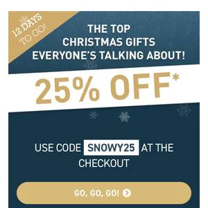 Buyagift 25% off top Christmas gifts   w/code, see examples below