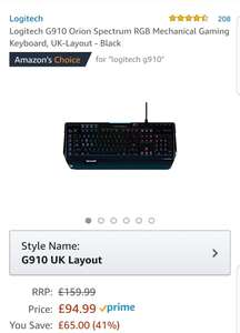 Logitech G910 Orion Spectrum RGB Mechanical Gaming Keyboard, UK-Layout - Black £94.99 Amazon
