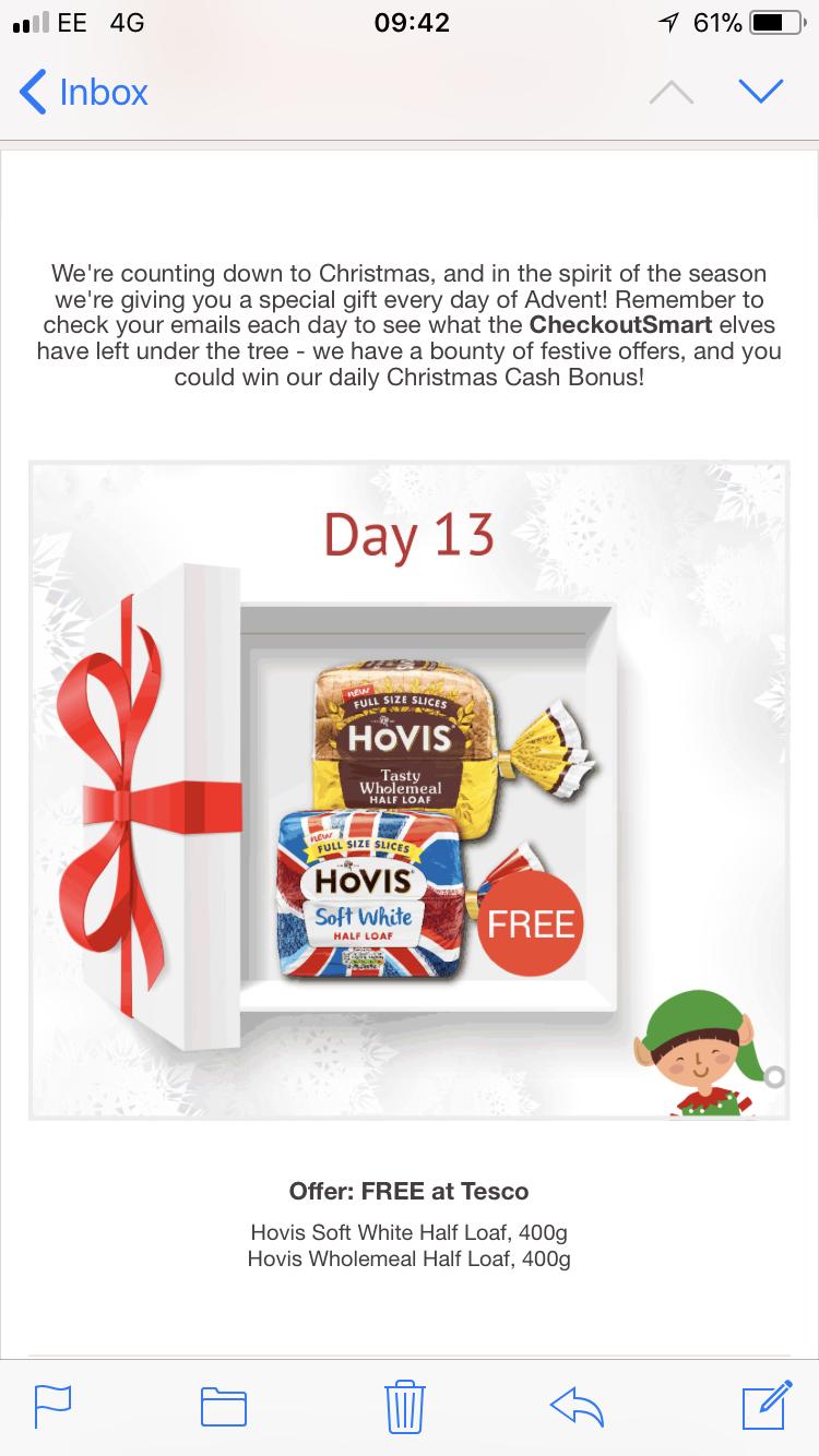 Free Hovis Bread 400g @ Tesco via CheckoutSmart
