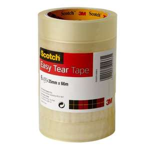Scotch Easy Tear Tape, 25 mm x 66 m - Clear, Pack of 6 Rolls, £3.70 prime amazon(£5.68 non prime)