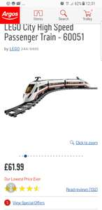 Lego high speed passenger train 60051 - £61.99 at Argos