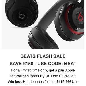 Beats Studio 2.0 refurb £119.90 with code @ Zavvi