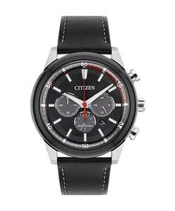 Citizen Watch Men's Solar Powered with Black Dial Analogue Display and Black Leather Strap CA4348-01E - £75 @ Amazon