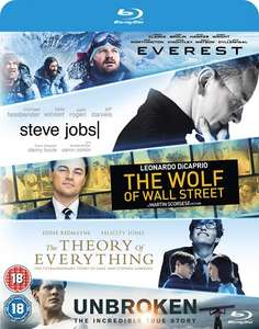 Everest/Steve Jobs/Wolf of Wall Street/Theory of Everything/Unbroken 5 film Blu-Ray set £9.00 including free delivery using code SIGNUP10 @ zoom