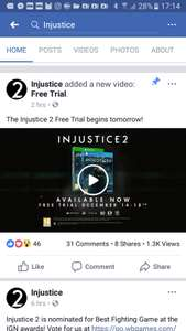 Injustice 2 free trial plus 50% off 14th to 18th December