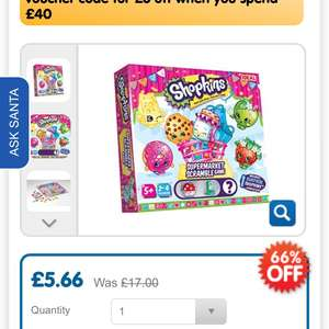 Shopkins supermarket scramble game £5.66 the entertainer instore / online