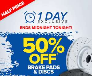 Eurocarparts 1 day sale. 50% off Brake discs and pads.