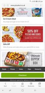 Pizzahut.co.uk 50% off £50+ pizza, sides, desserts & drinks (check postcode)