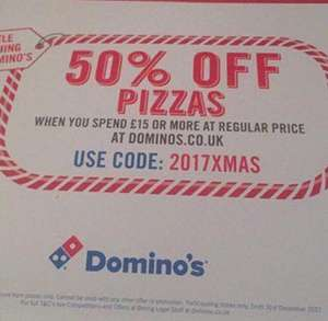 50% off at dominos when you spend £15 or more