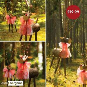 Wooden Reindeer (approx. 5ft tall with decoration & LED lights) @ HomeBargains £19.99