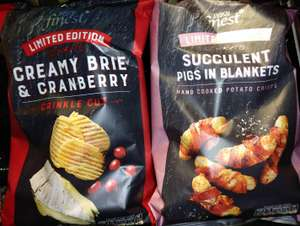 Tesco Finest Limited Edition Creamy Brie And Cranberry Crinkle Cut Crisps 150g, 26p (Was £1.05) or Limited Edition Succulent Pigs In Blankets Hand-Cooked Potato Crisps 150g, 25p (Was £1) In Store @ Tesco Express, Trongate, Glasgow