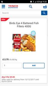 Birds eye 4 battered fish fillets £2.75 3for £5.00 @ tesco.com