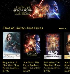 Star Wars Films @ iTunes - From £5.99 (See post for details)
