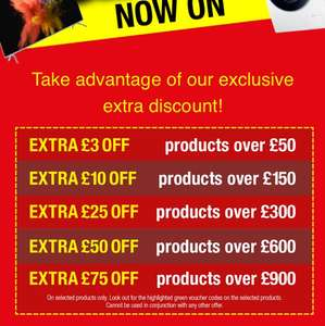 Savings @ Hughes £3 off £50 - £10 off £150 -  £25 off £300 - £50 off £600 & £75 off £900 spends
