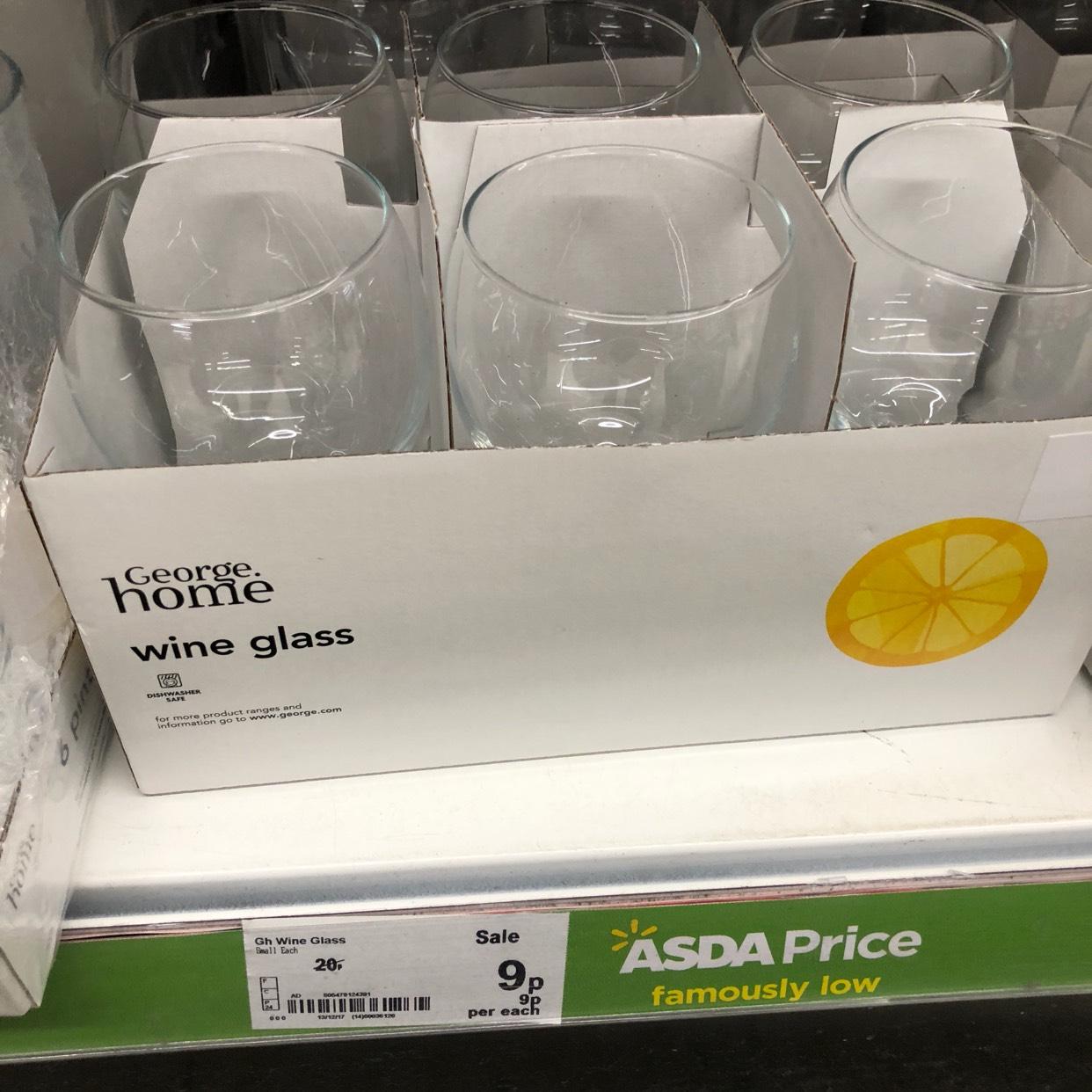 ASDA Wine Glass 9p Each - instore