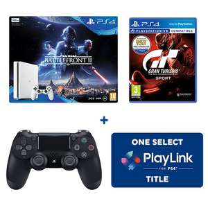 PS4 500GB Star Wars: Battlefront II Bundle, Extra Controller, Gran Turismo + Selected Game