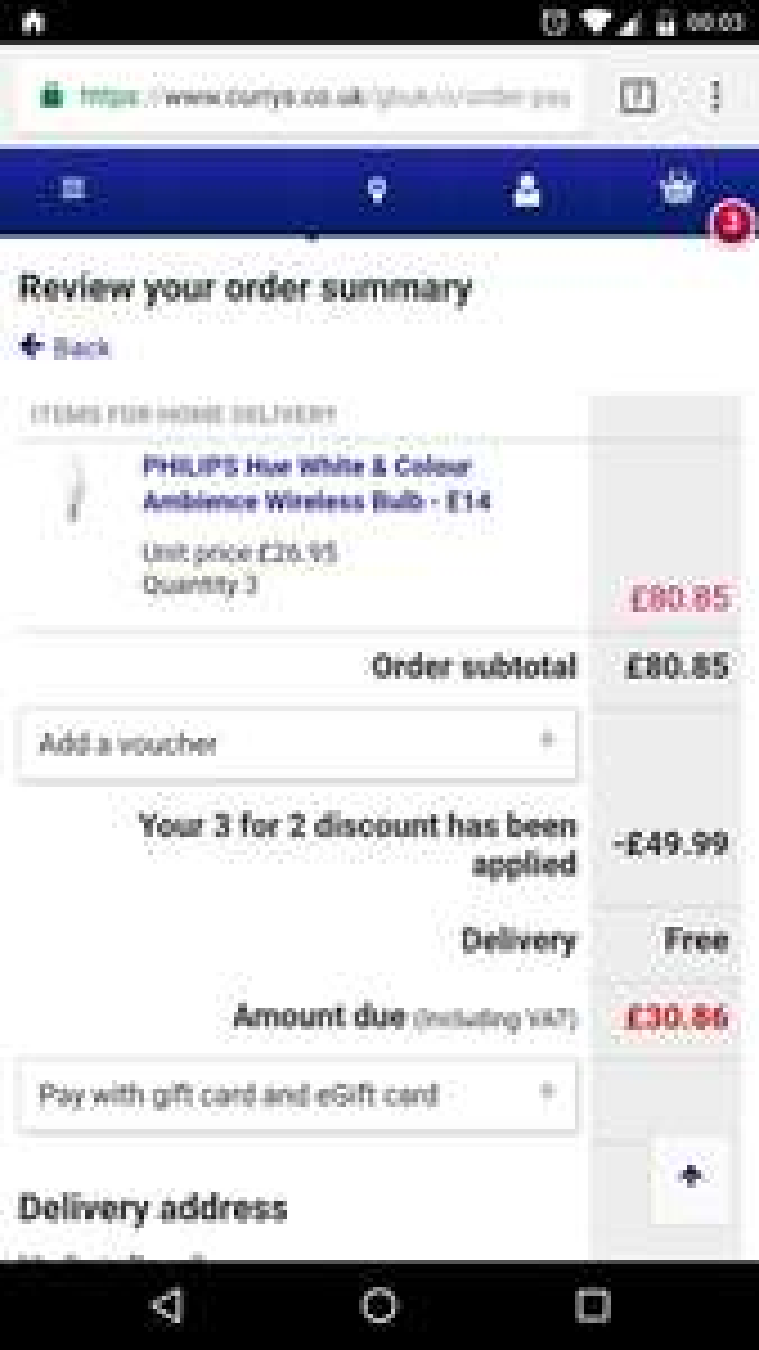 PHILIPS Hue 3x Hue e14 colour bulbs for £30.86 at Currys
