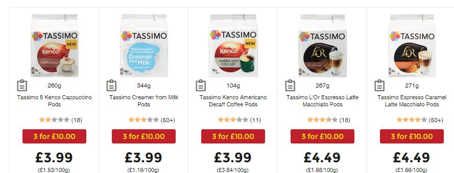 Tassimo Pods 3 for £10 @ ASDA
