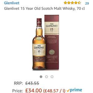 Glenlivet 15 Year Old Scotch Malt Whisky 70cl - £34 @ Amazon