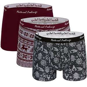 Natural Feelings 95% Cotton, 5% Spandex; 3-Pack men underwear boxer briefs ; 3 Christmas men trunk ( solid red /grey and red /green) - £14.47 (Prime) £18.46 (Non Prime) @ Sold by Natural Feelings and Fulfilled by Amazon