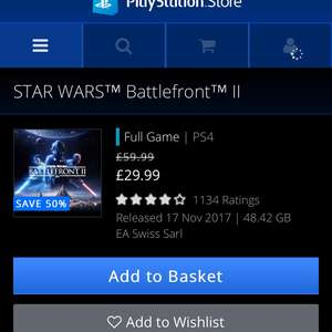 Star Wars Battlefront II, £29.99 @ PSN