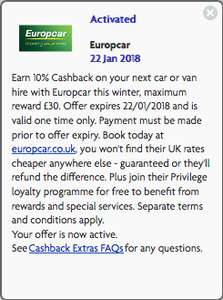 Europcar 10% cashback offer for ultimate reward / reward holders @ Halifax