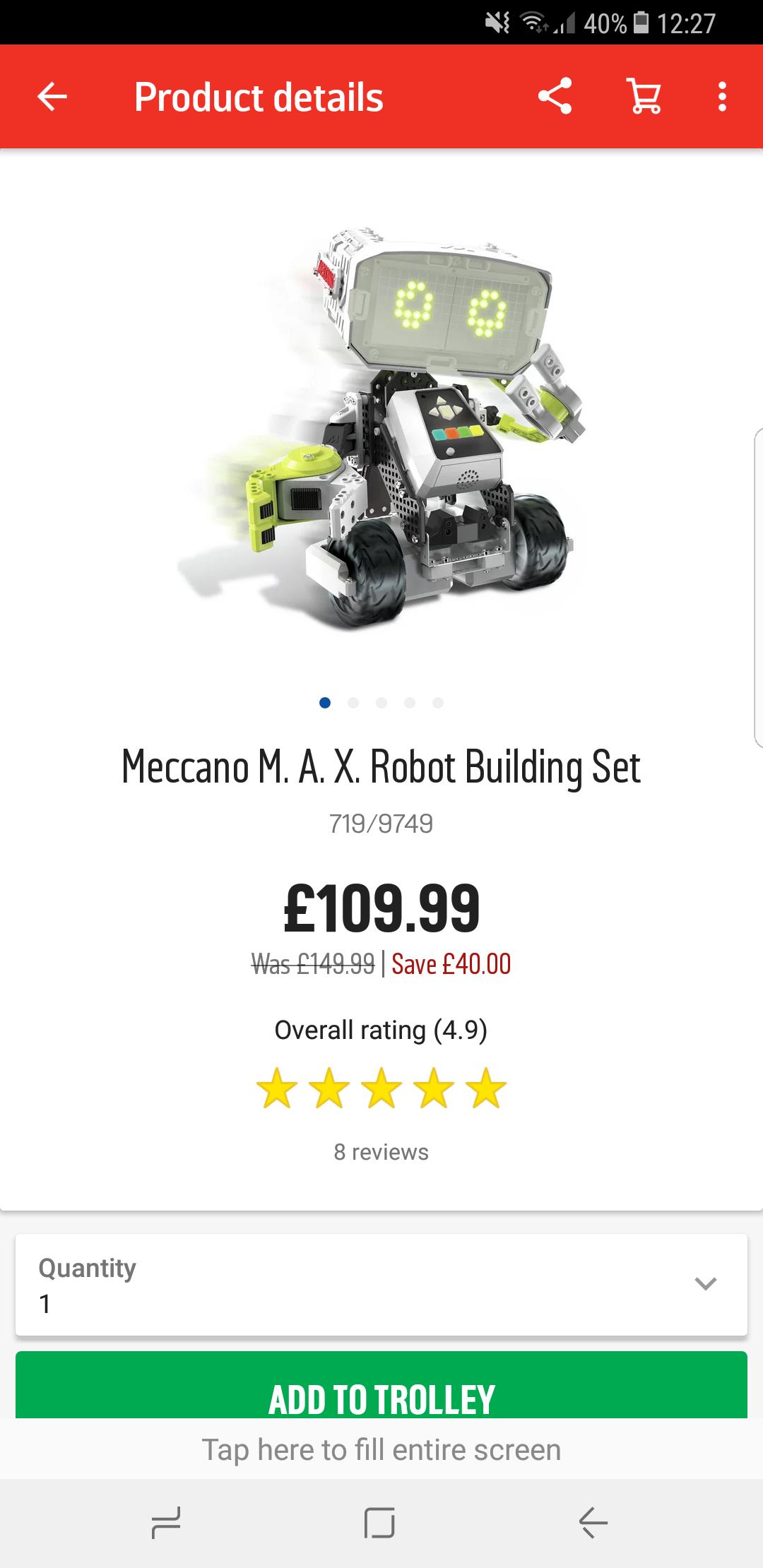 meccano m.a.x robot - £109.99 @ Argos