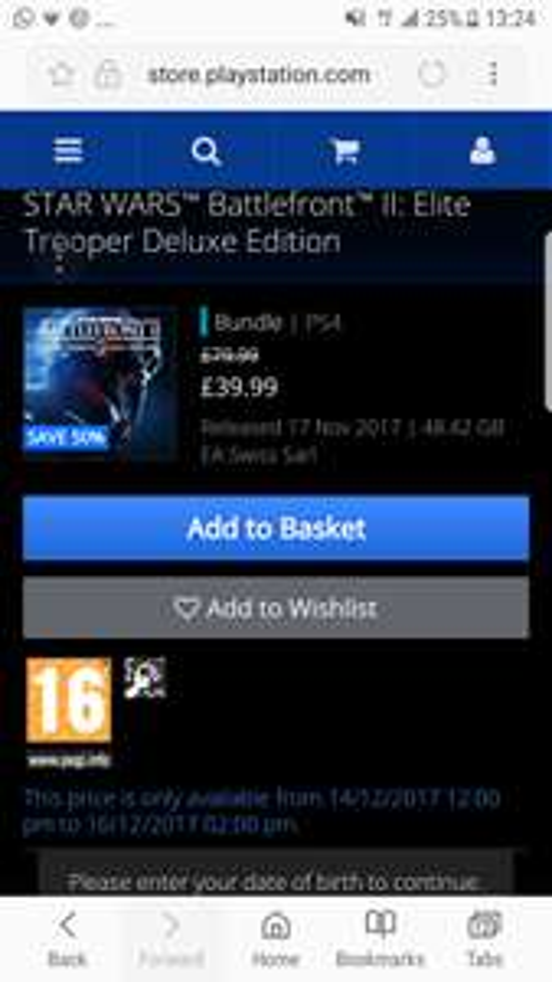 BATTLEFRONT 2 ELITE TROOPER EDITION ps4 store 50% off - £39.99