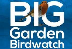 Get a Free RSPB Big Garden Birdwatch pack (27 - 29 January 2018) + a code for 20% Off & Free P&P for their Shop