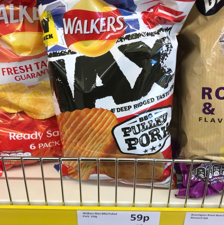 Walkers Max Pulled Pork 150g bag 59p at Heron Foods