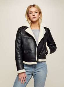 Black Shearling Aviator Jacket £34.99 collection/£38.99 delivered @ Miss Selfridge