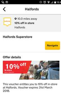 10% off at Halfords for AA members until end March 2018
