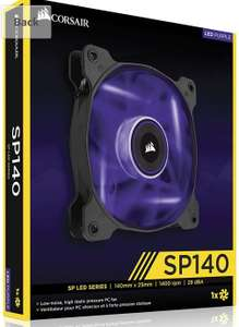 Corsair CO-9050028-WW Air Series SP140 Low Noise High Pressure LED 140 mm Fan Single Pack - Purple - £4.97 (Add-on item) @ Amazon