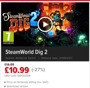 Steamworld Dig 2 - Nintendo Switch £10.99 (27% off)
