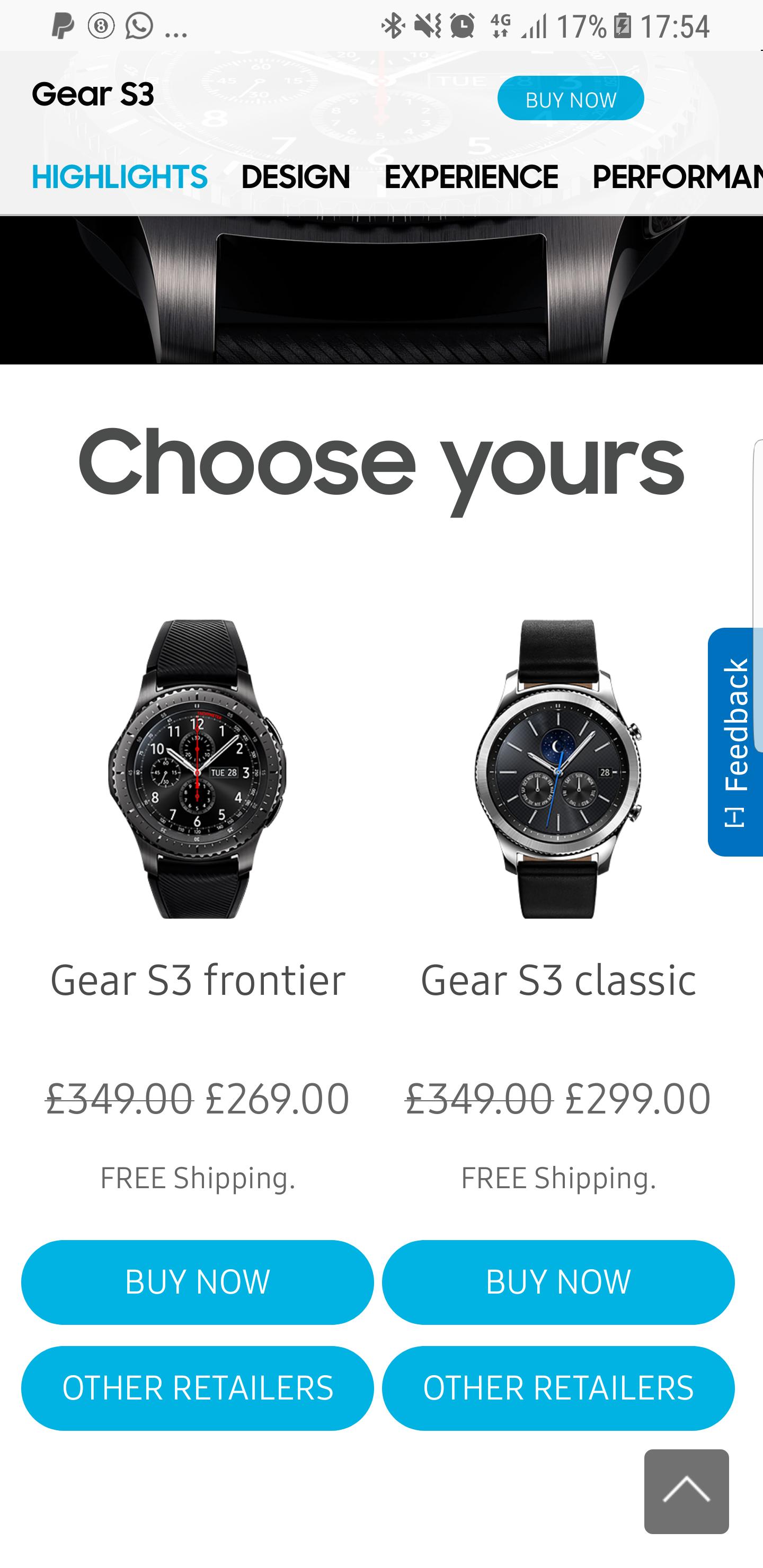 Samsung gear s3 frontier £269 @ Samsung