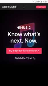 Apple music FREE for 3 months(unless you have already used the trial)