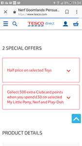 Collect 500 extra Clubcard points when you spend £30 on selected My Little Pony, Nerf and Play-Doh @ Tesco.com