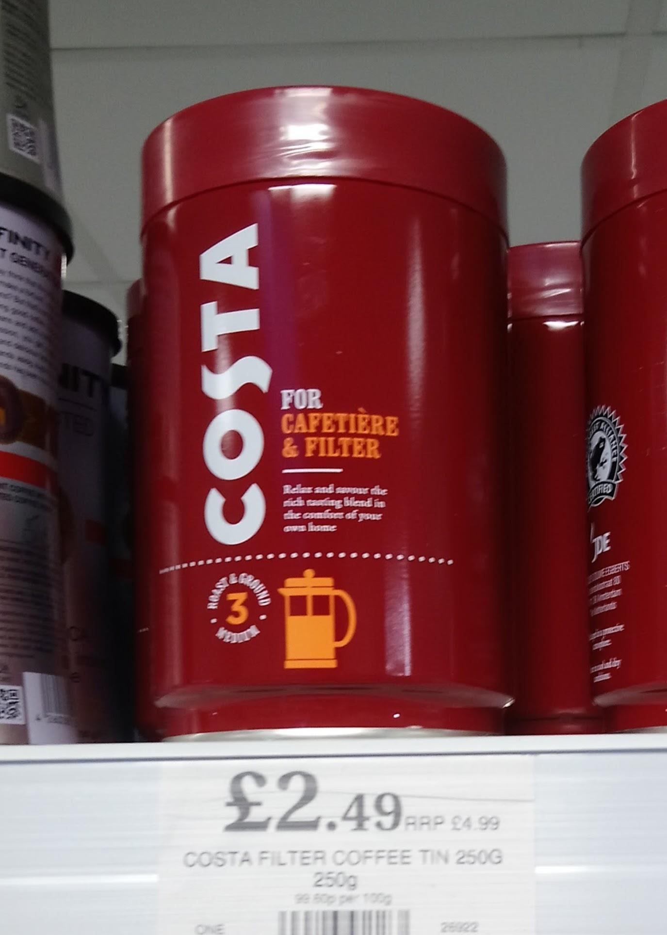 Costa Roast & Ground Coffee, 250g Tin. £2.49 @ Home Bargains