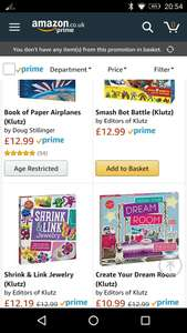 Amazon - Klutz Activity Packs some £12.99 each but 4 for £10 (prime)