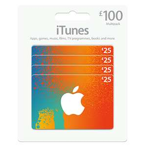 4 x £25 iTune gift cards for £84.99 at Costco