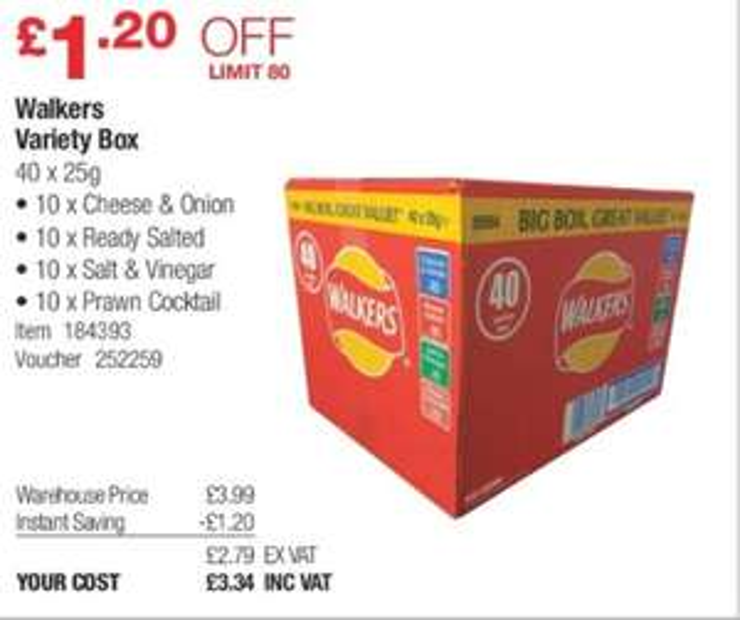 Walkers crisps variety box 40 X 25g @ Costco warehouse (after VAT)(18-31 Dec)