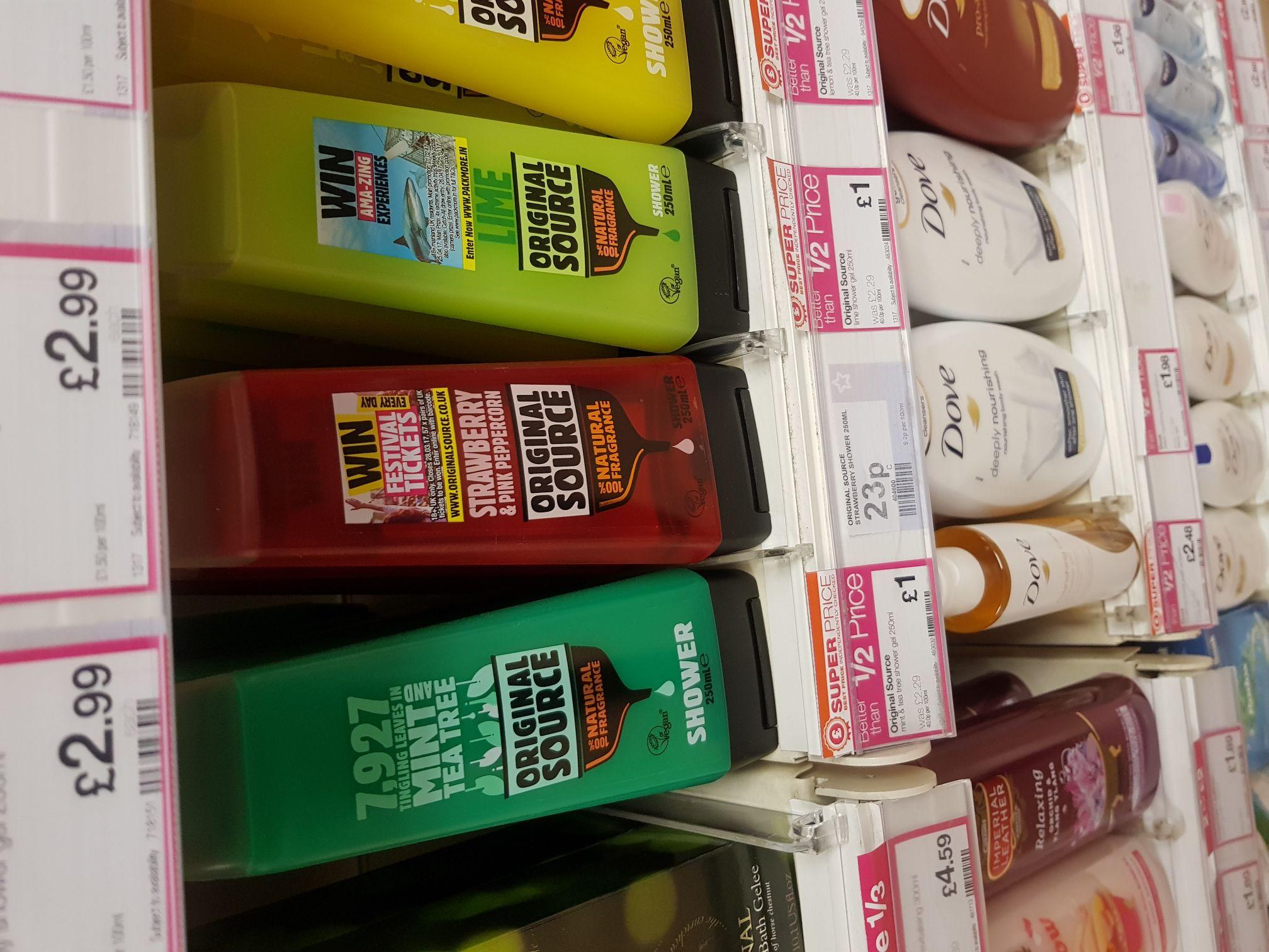 23p Original source 'strawberry & pink peppercorn' shower gel instore at superdrug