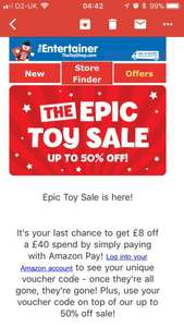 Half price toys - up to 50% off @ The Entertainer, PLUS £8 off a £40 spend