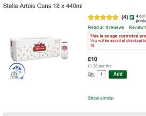 18 x 440ml Stella Artois  £10 @ Morrisons Online and Instore